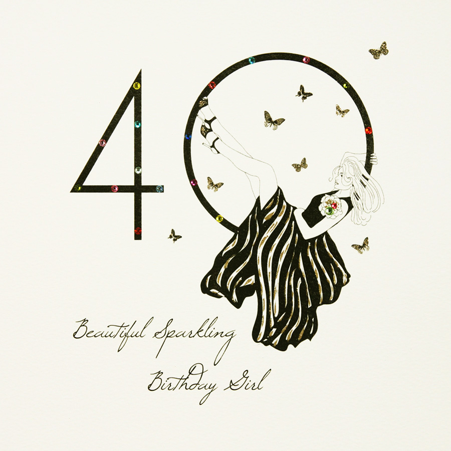 40 Birthday Card Ideas Beautiful Sparkling Birthday Girl Large Handmade 40th Birthday Card Sl4