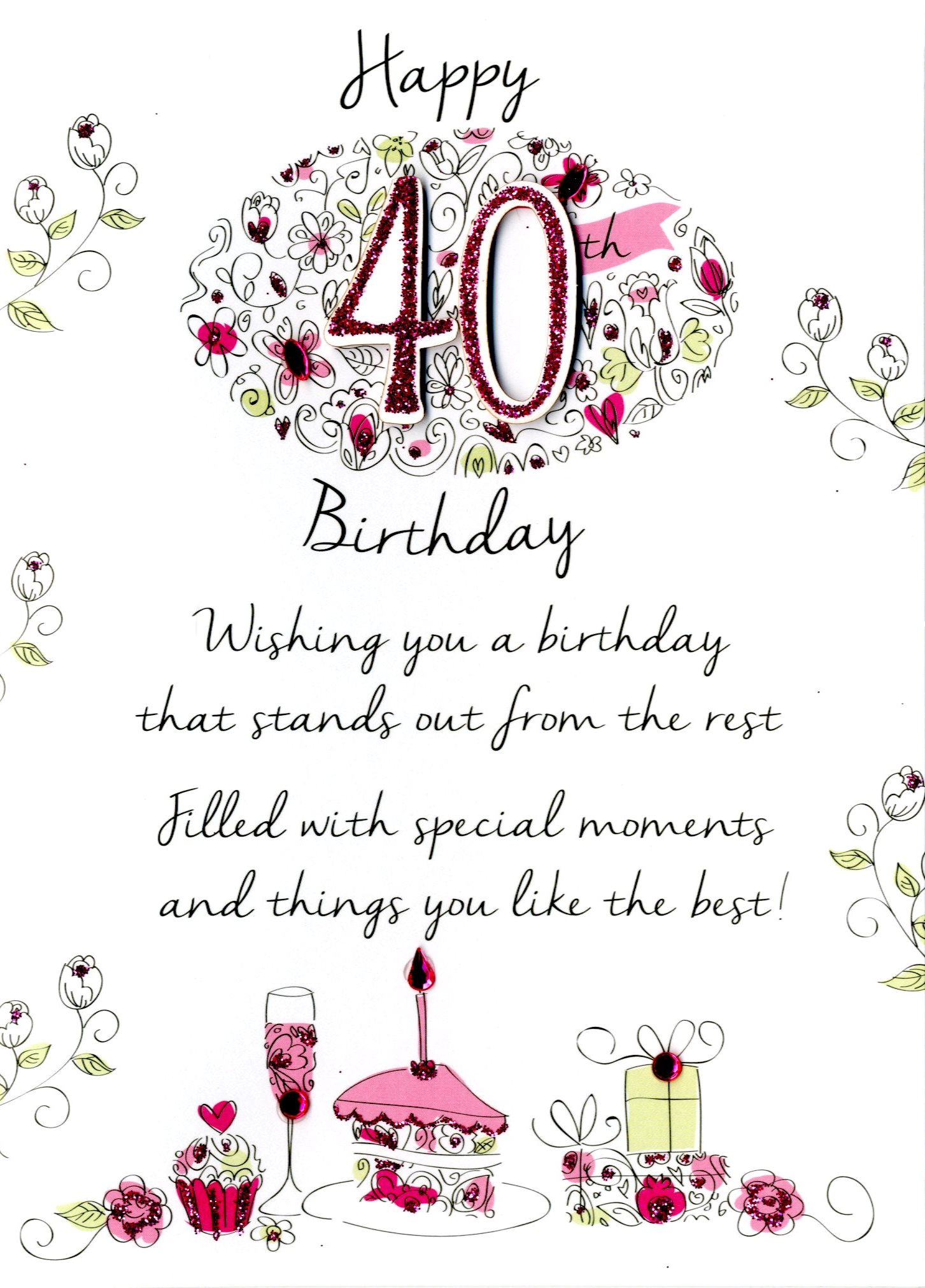 40 Birthday Card Ideas Female 40th Birthday Greeting Card