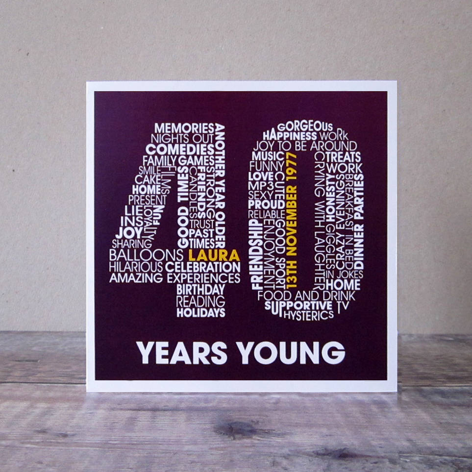 40 Birthday Card Ideas Personalised 40th Birthday Card