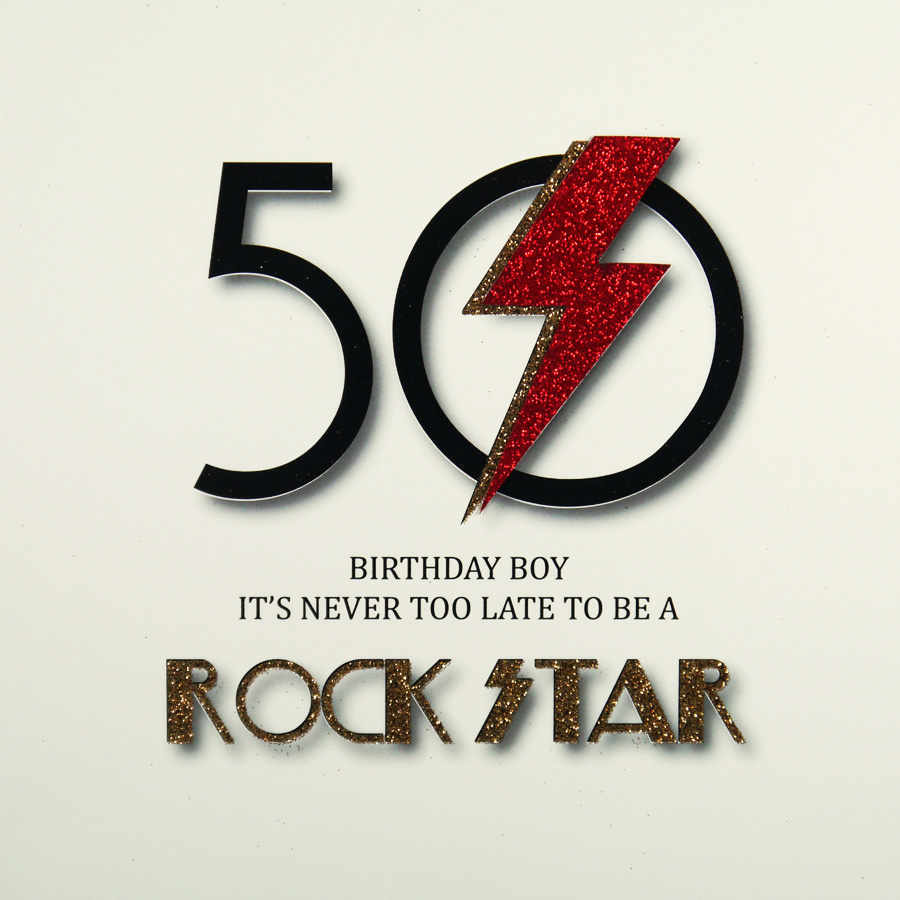 50Th Birthday Card Ideas Its Never Too Late To Be A Rock Star Large Handmade 50th Birthday Card Mrm7