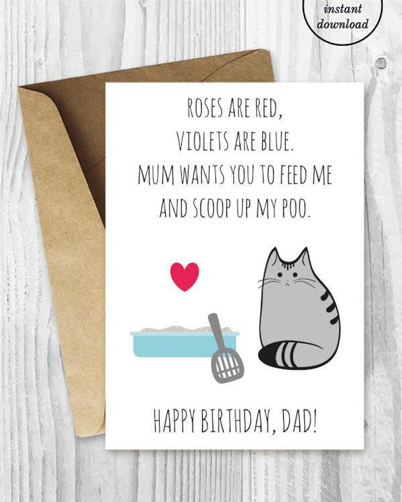 Birthday Cards Ideas For Dad Diy For Him Birthday Card Printable For Dad Uk Funny Cat Birthday Card For Husband For Boyfriend Birthday Cards For Cat Dad From The Cat