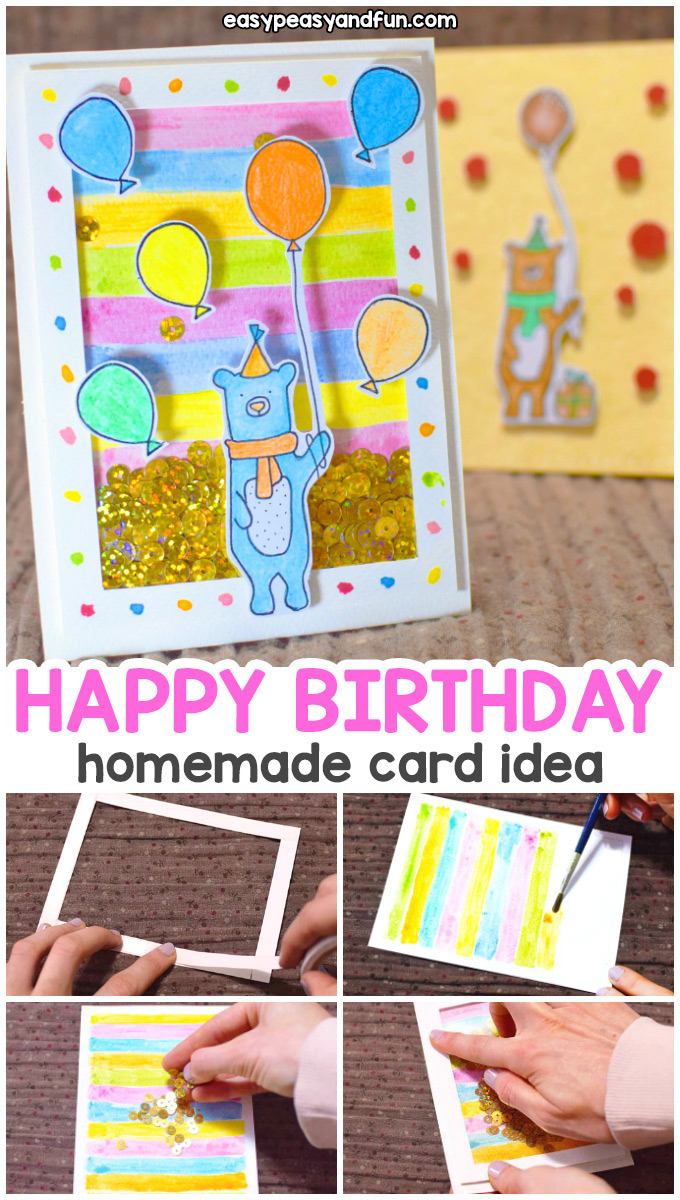 Card Ideas Birthday How To Make A Birthday Shaker Card Homemade Birthday Card Easy