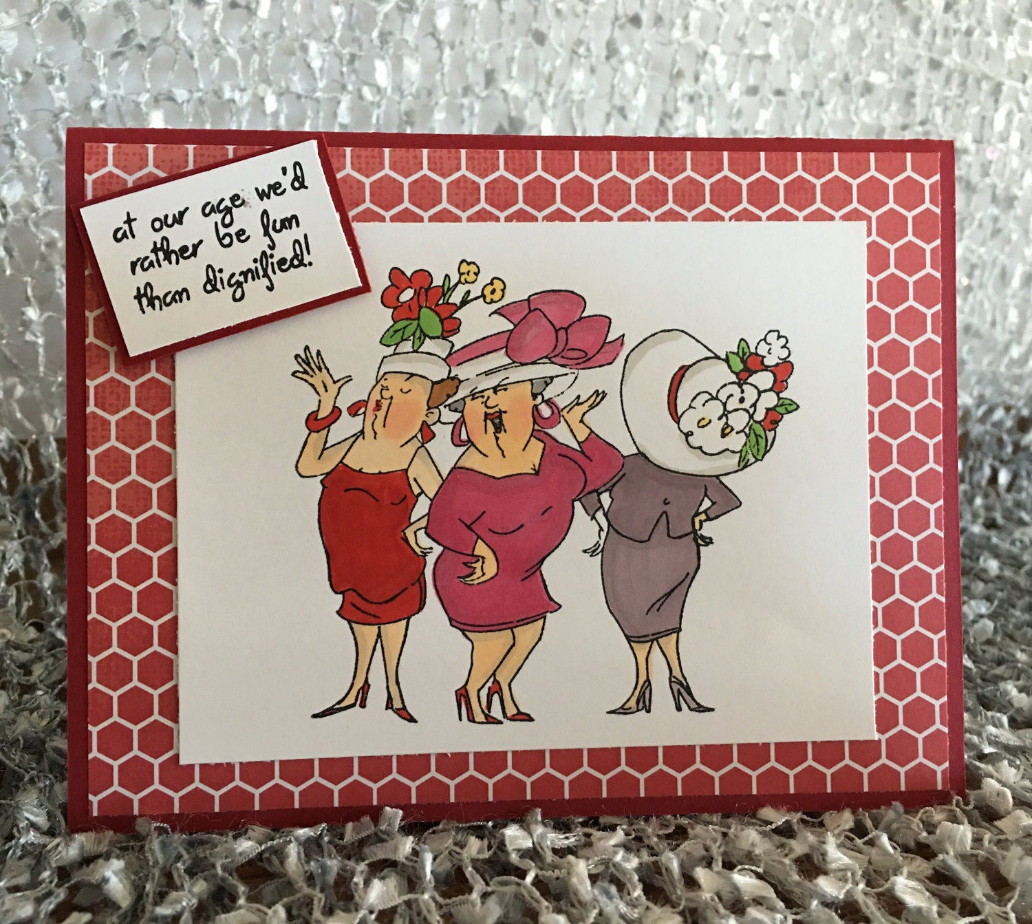Cute Card Ideas For Birthday Hat Ladies Birthday Funny Handmade Cards Birthday Card Fun Card Ladies In Red Happy Birthday Friend Card Fun Girls Birthday Wishes