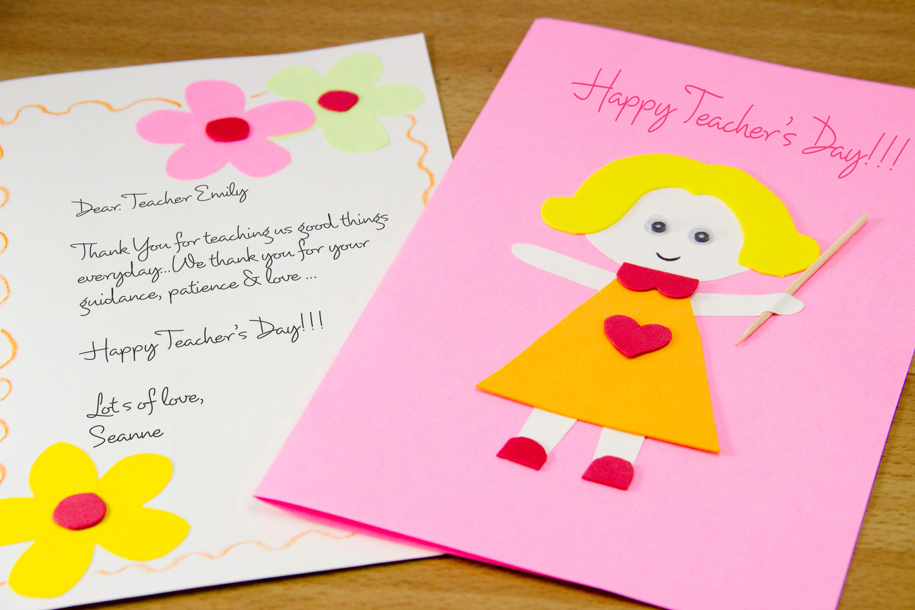 Easy Birthday Card Ideas For Kids How To Make A Homemade Teachers Day Card 7 Steps With Pictures