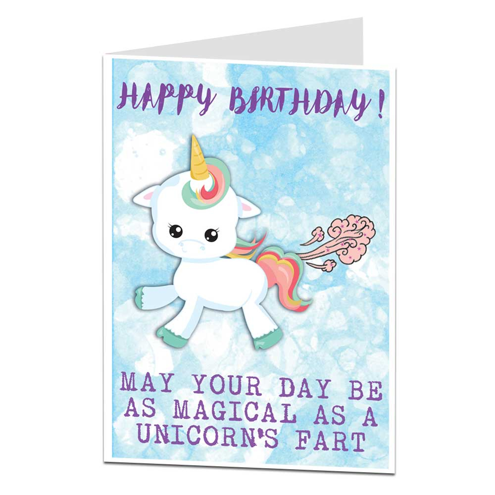 Funny Ideas For Birthday Cards Details About Unicorn Happy Birthday Card Funny Farts Theme Gift Things Ideas For Her