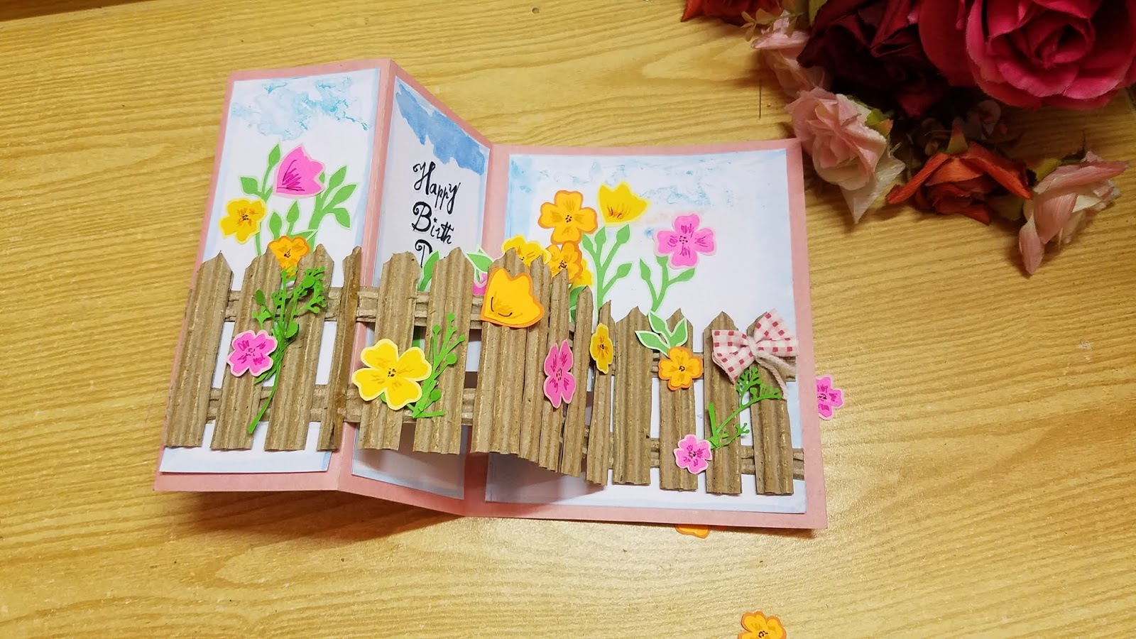 Greeting Card Ideas For Birthday Gs Craft Popup Flowery Garden Happy Birthday Greeting Card Idea