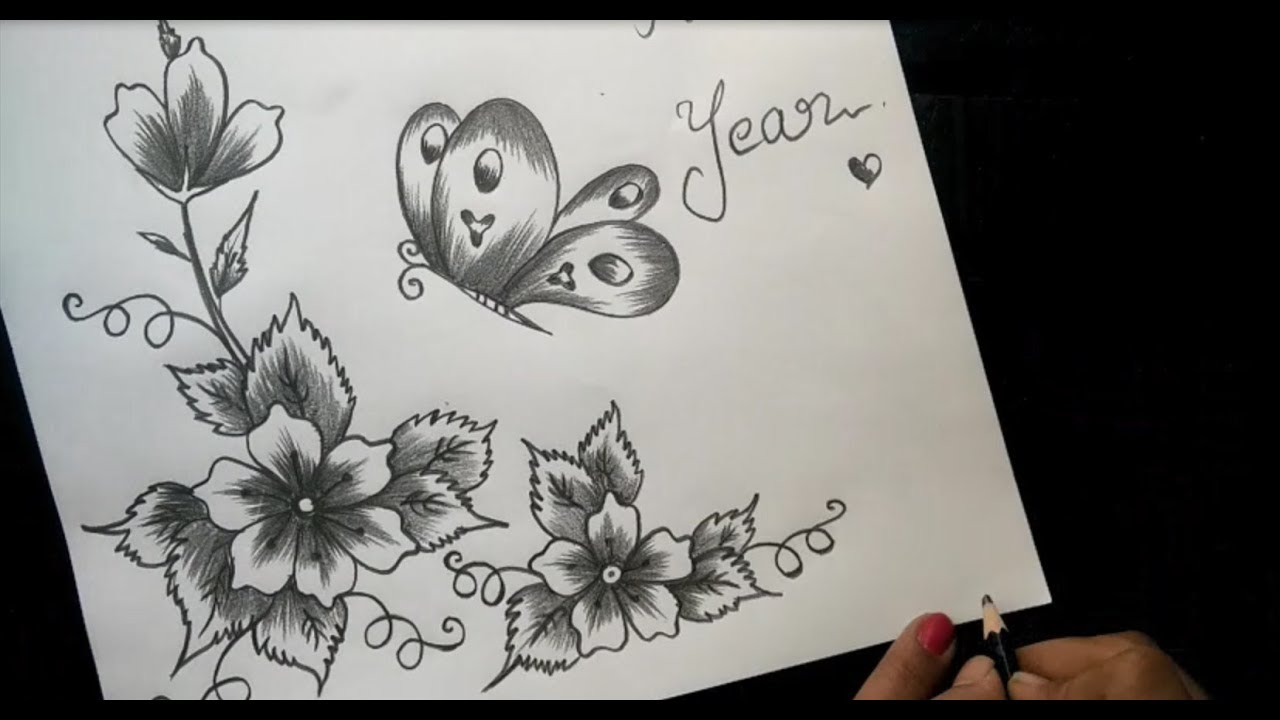 Hand Drawn Birthday Card Ideas How To Make Greeting Card With Pencil Sketch Version 2