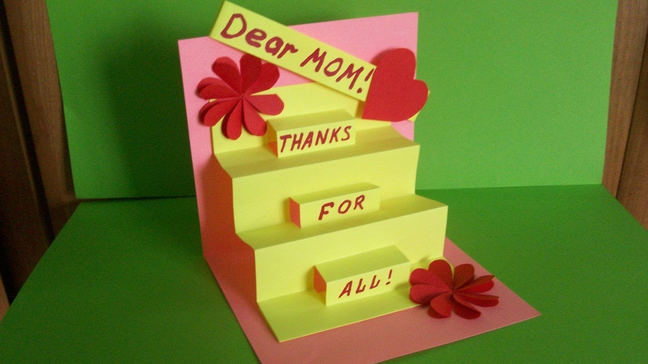 Handmade Birthday Card Ideas For Daughter How To Make A Greeting Pop Up Card For Mom Birthday Mothers Day Handmade Gifts And Ideas
