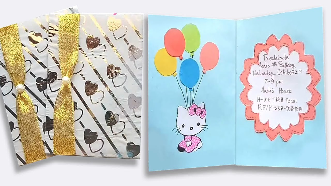 Handmade Birthday Invitation Cards Ideas How To Make Birthday Invitation Card Craft Ideas For Birthday
