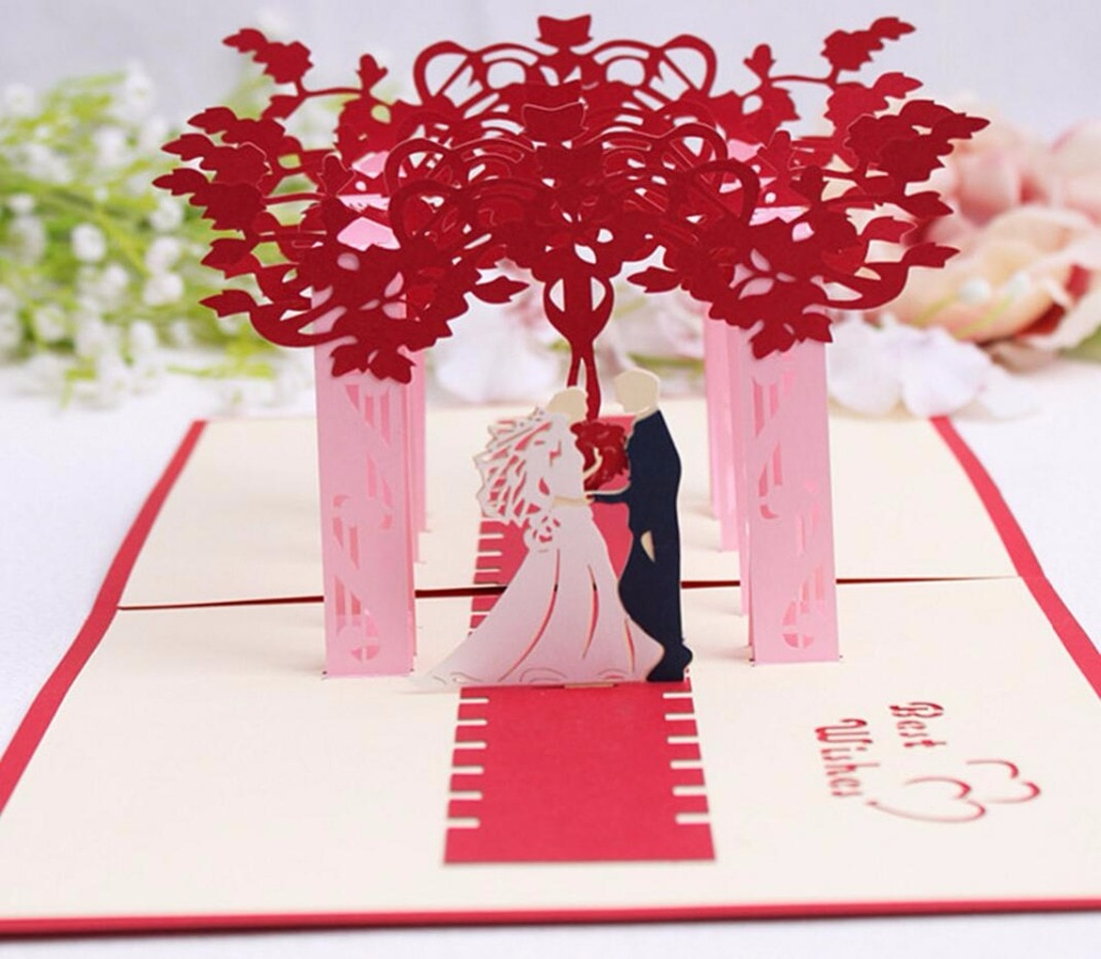 Handmade Birthday Invitation Cards Ideas Us 2079 20 Off10pcs 3d Red Trees Forest Couple Handmade Kirigami Origami Wedding Party Invitation Cards Greeding Birthday Card Postcard In Cards