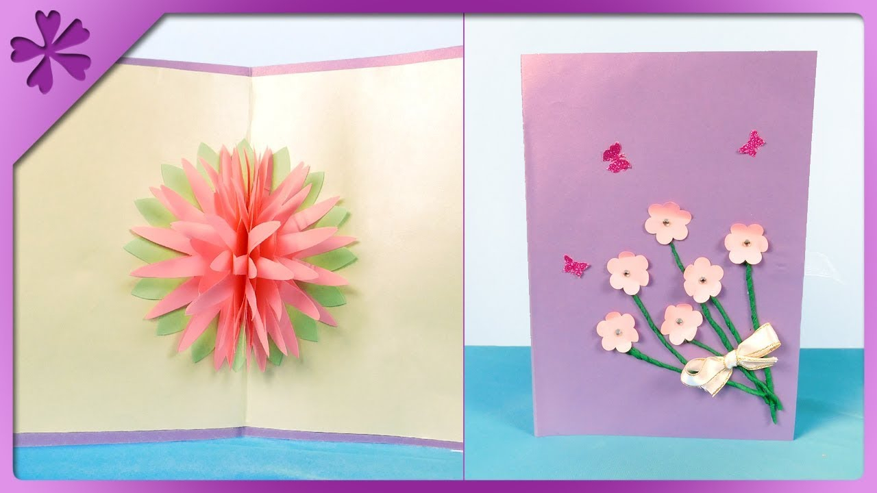 Ideas For Birthday Cards For Grandpa Diy How To Make 3d Flower Greeting Card For Grandparents Day Eng Subtitles Speed Up 443