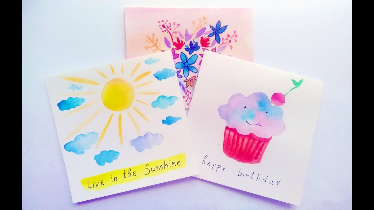 Ideas For Making Birthday Cards At Home Diy Easy Watercolor Card Ideas Greeting Cards Making At Home Tutorial