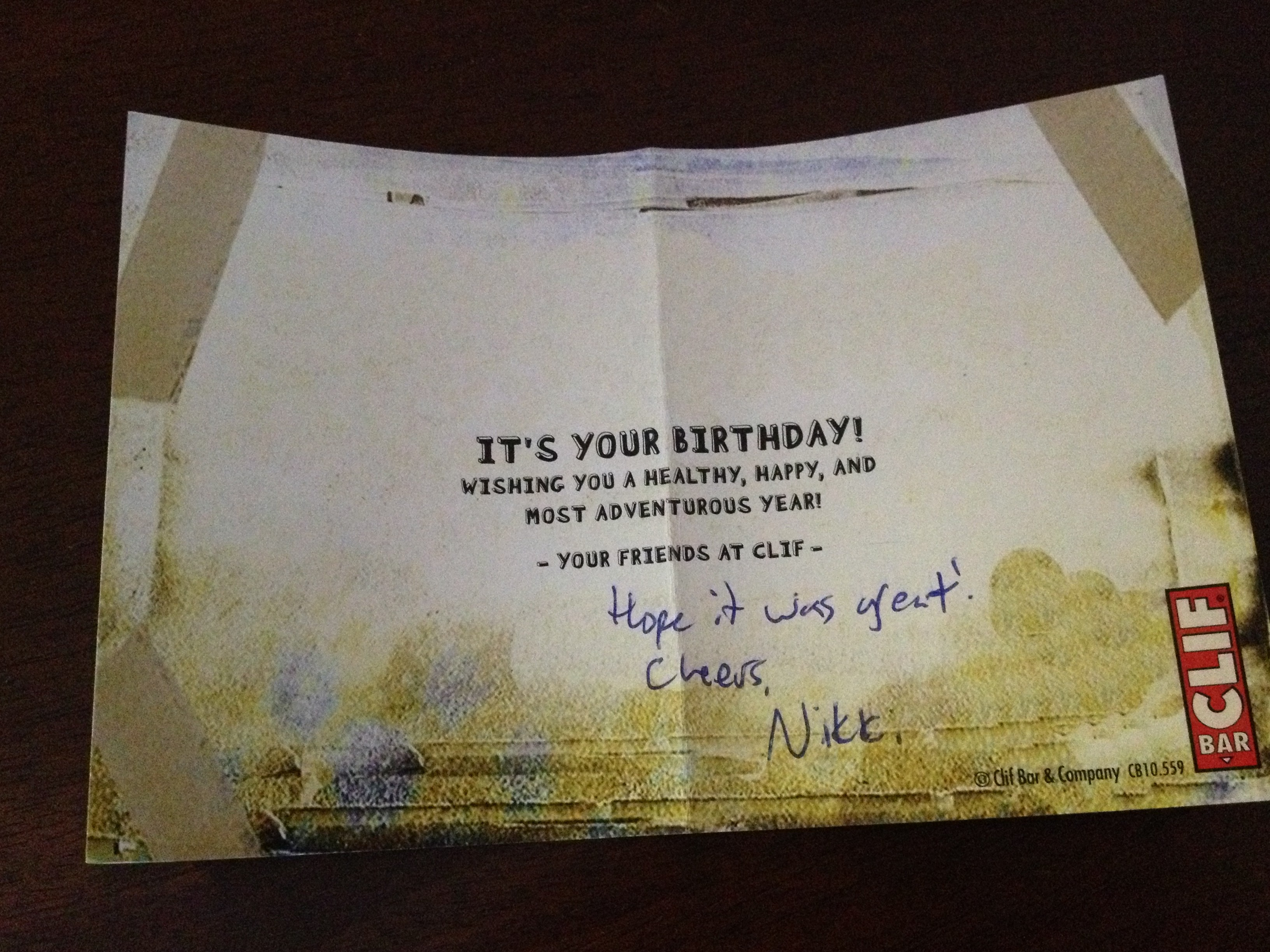 Ideas To Write In Birthday Cards A Birthday Present From Clif Bar Customer Relationship Management