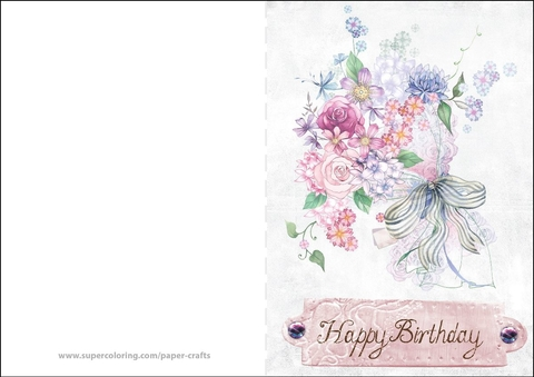 Outstanding Printable Happy Birthday Cards Happy Birthday Card With Flowers Paper Craft printable happy birthday cards|craftsite.info